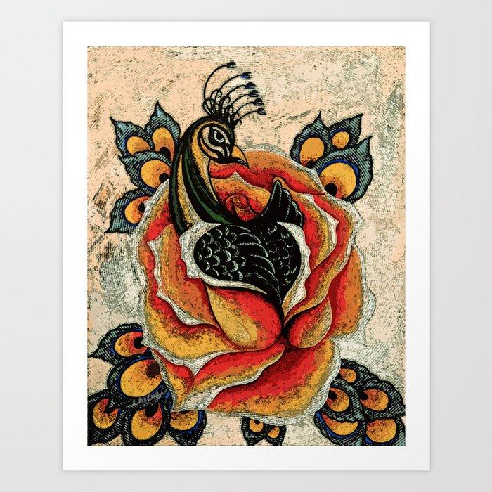 Orange Peacock Rose Remix Art Print