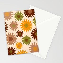Retro 70s jumbo flowers autumn brown orange daisies Stationery Cards