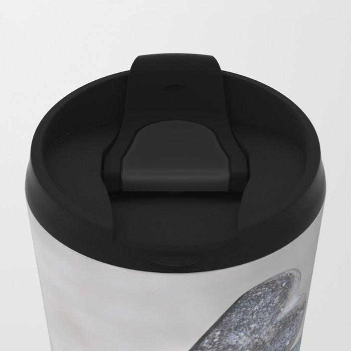 Balanced pebble stack with heart on top Metal Travel Mug