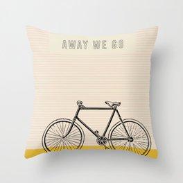 Away We Go Bike Art Throw Pillow