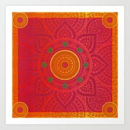 """Fuchsia and Gold Mandala"" Art Print"