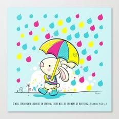 Rain Rabbit ezekiel 34:26 Canvas Print
