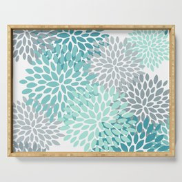 Floral Pattern, Aqua, Teal, Turquoise and Gray Serving Tray