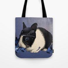 Blue Biker Bunny Print Tote Bag