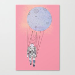 The Moon-Man Floating Through the Pink Universe Canvas Print
