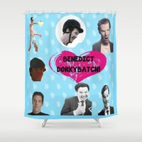 benedict Shower Curtains featuring Benedict DorkyBatch by Paris Noonan
