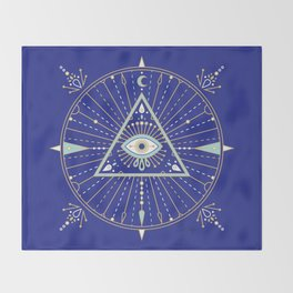 Evil Eye Mandala – Navy Throw Blanket