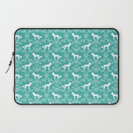 Chinese Crested silhouettes florals pet gifts unique dog breeds art Laptop Sleeve