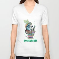 bookworm V-neck T-shirts featuring Bookworm by TheVioletWall