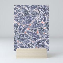 Tropical Caladium Leaves Pattern - Purple Gray Coral Mini Art Print