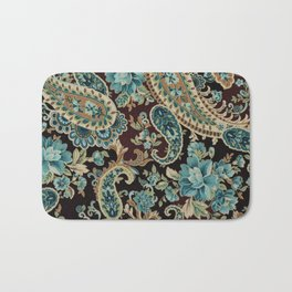 Brown Turquoise Paisley Bath Mat