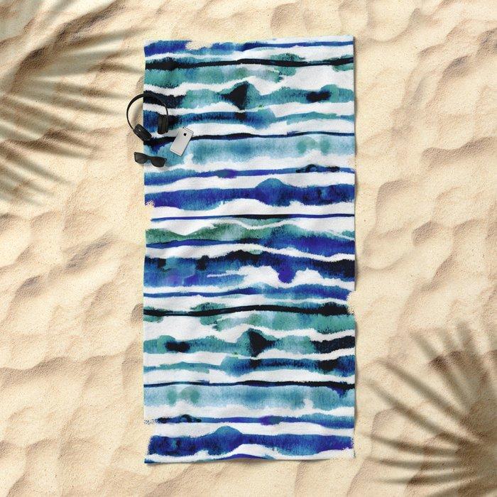 Laguna Watercolor Stripe Beach Towel