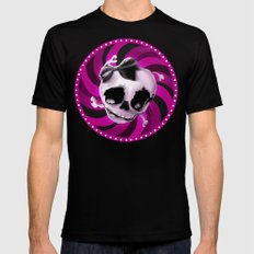 Girly Pink Skull with Black Bow Mens Fitted Tee Black SMALL