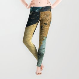 Supernova: an abstract mixed media piece in gold with blues, greens, and a hint of pink Leggings