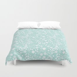 Vintage bohemian pastel green white flowers illustration Duvet Cover
