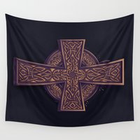 celtic Wall Tapestries featuring Celtic Cross by pakowacz