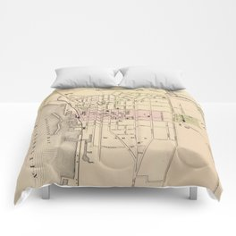 Vintage Map of Burlington Vermont (1873) Comforters