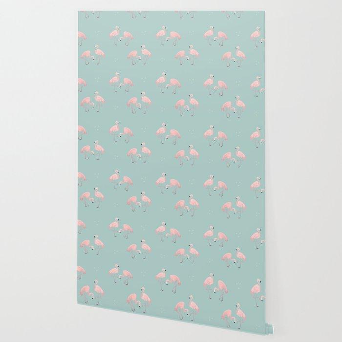 Flamingo Love Blue Wallpaper