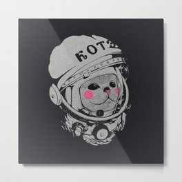 Spaceman cat Metal Print