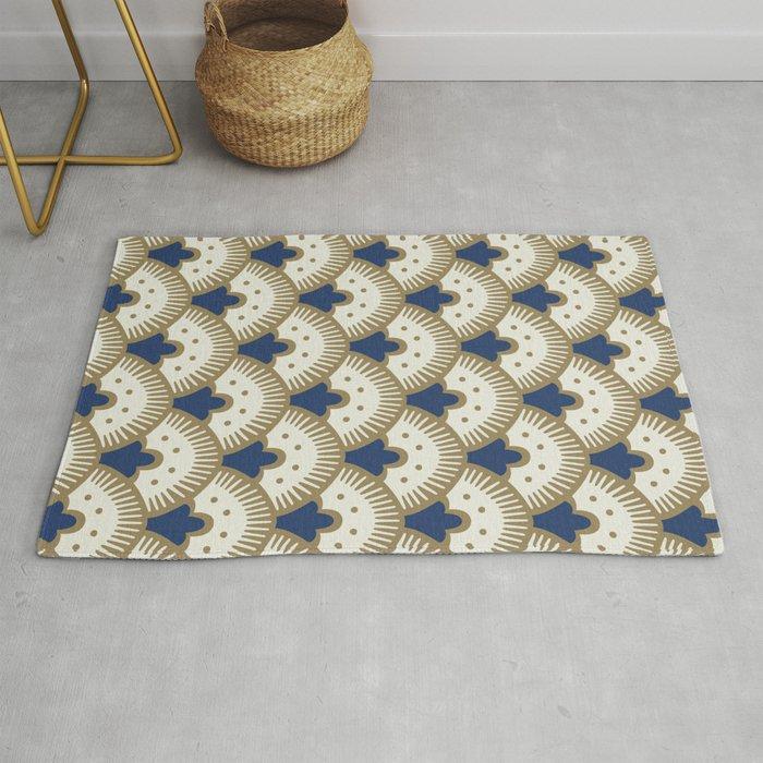 Fan Pattern Blue/Gold Rug