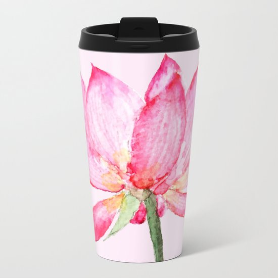 pink lotus flower Metal Travel Mug