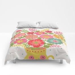 Garden delight on white Comforters