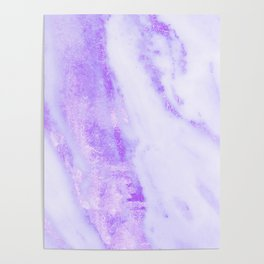 Shimmery Violet Purple Marble Metallic Poster