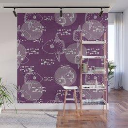 Mola Mola Purple-Ocean sunfish Wall Mural