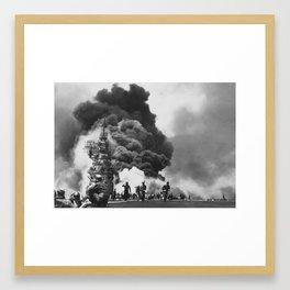 USS Bunker Hill Kamikaze Attack Framed Art Print