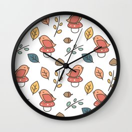 cute lovely autumn fall pattern with birds, mushroom, leaves, branches, acorns and chestnuts Wall Clock