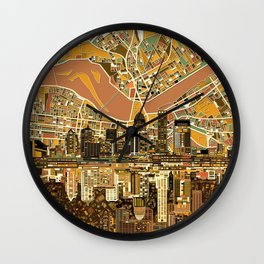 louisville city skyline 2 Wall Clock