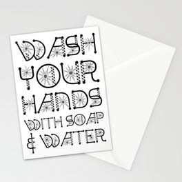 Wash Your Hands With Soap And Water. Stop The Virus Stationery Cards