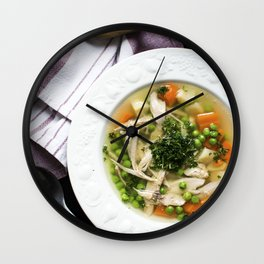 Homemade chicken broth with vegetables Wall Clock