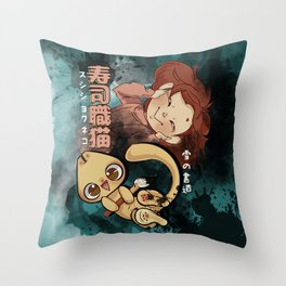 Sushi Chef Neko - Snow Shodou - Junpei and Anzu Design 2 Throw Pillow