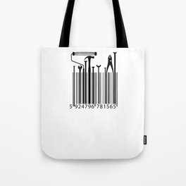 Funny Worker Tradesman Barcode Tool Tote Bag