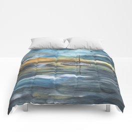Boat on Blue Seas Comforters