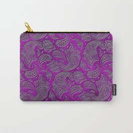 Silver embossed Paisley pattern on purple glass Carry-All Pouch