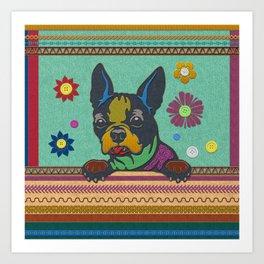 Boston Terrier Fun Scrapbook style fabric composition Art Print