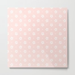 Vintage pastel coral white abstract floral pattern Metal Print