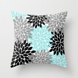 Aqua Black Gray Flower Burst Floral Pattern Throw Pillow