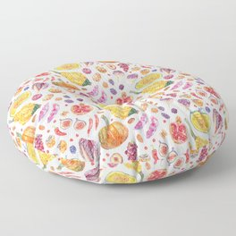 Autumn Harvest Pattern White Floor Pillow