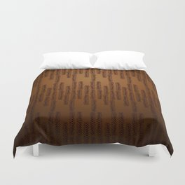 Eye of the Magpie tribal style pattern - bronze Duvet Cover