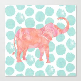 Mint Watercolor Elephant on Coral Dots Canvas Print