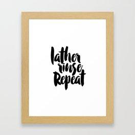 LATHER RINSE REPEAT, Salon Wall Decor,Bathroom Decor,Girls Room Decor,Calligraphy Print,Typographic Framed Art Print
