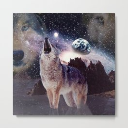 Wolf in the moon howling at the earth Metal Print