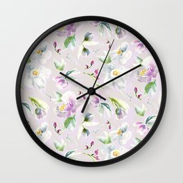 Pastel Floral in Cassia Purple and Blush Wall Clock