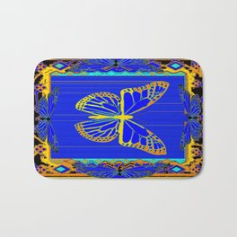 Lapis Blue & Gold Monarch Western Art design Bath Mat