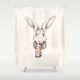 Bunny and scarf Shower Curtain