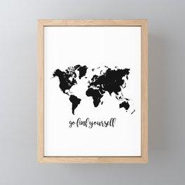 Go find yourself map Framed Mini Art Print