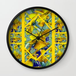 Decorative Collage Mustard Yellow Green-Purple Iris Garden Wall Clock